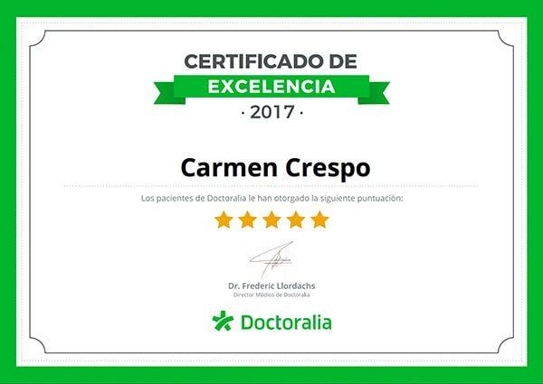 certificado de excelencia psicologo carmen crespo en majadahonda doctorialia